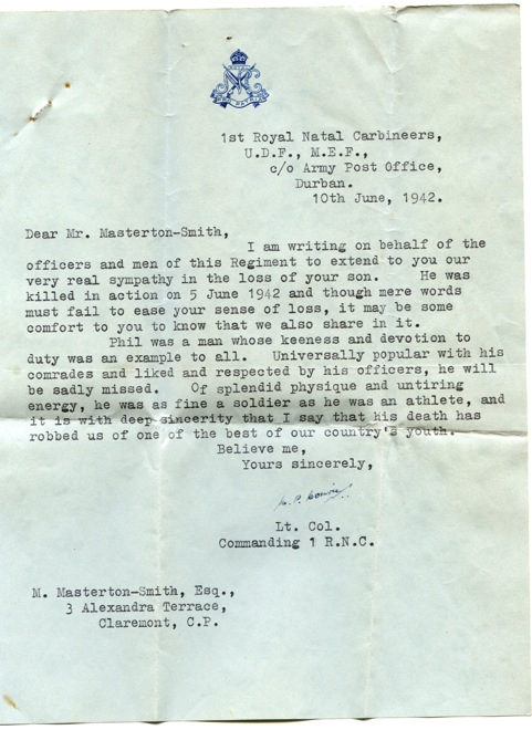 Phil Masterton-Smith's death notice from the 1st Royal Natal Carbineers