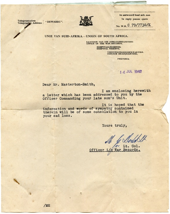 Phil Masterton-Smith death notice 1942 from war records